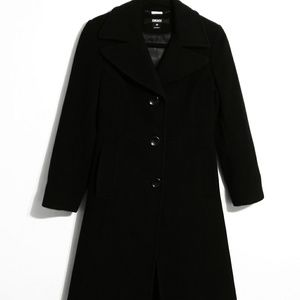 DKNY stunning knee length black trench